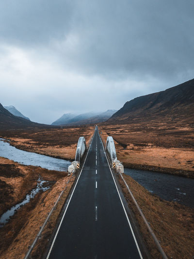 A long road through glencoe, scotland