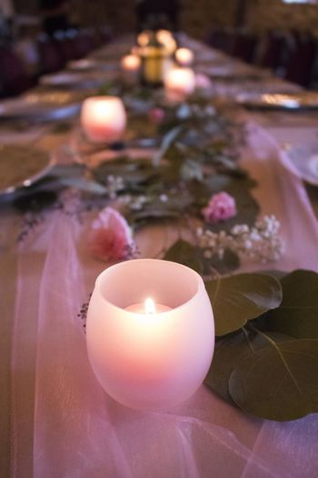 Wedding Burning Candle Close-up Fancy Table Fire Flame Flower Flowering Plant Focus On Foreground Freshness Heat - Temperature Illuminated Indoors  Nature No People Table Tea Light