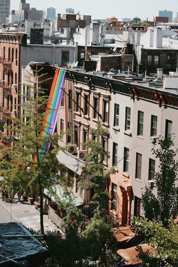 Pride Pride New York Architecture Built Structure City Building Exterior Building Nature Plant Residential District Outdoors Cityscape Day House Travel Destinations Multi Colored Street Apartment High Angle View Tree No People Summer Road Tripping The Street Photographer - 2018 EyeEm Awards Love Is Love The Traveler - 2018 EyeEm Awards