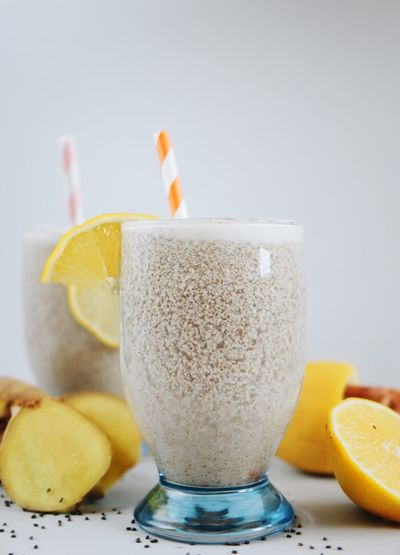 Chia Chia Seeds For Two Juice Lemonade Refreshment Chia Lemonade Citrus Fruit Drink Drinking Glass Drinking Straw Focus On Foreground Freshness Fruit Ginger Gray Background Healthy Eating Lemon Mocktail No People Refreshment Table
