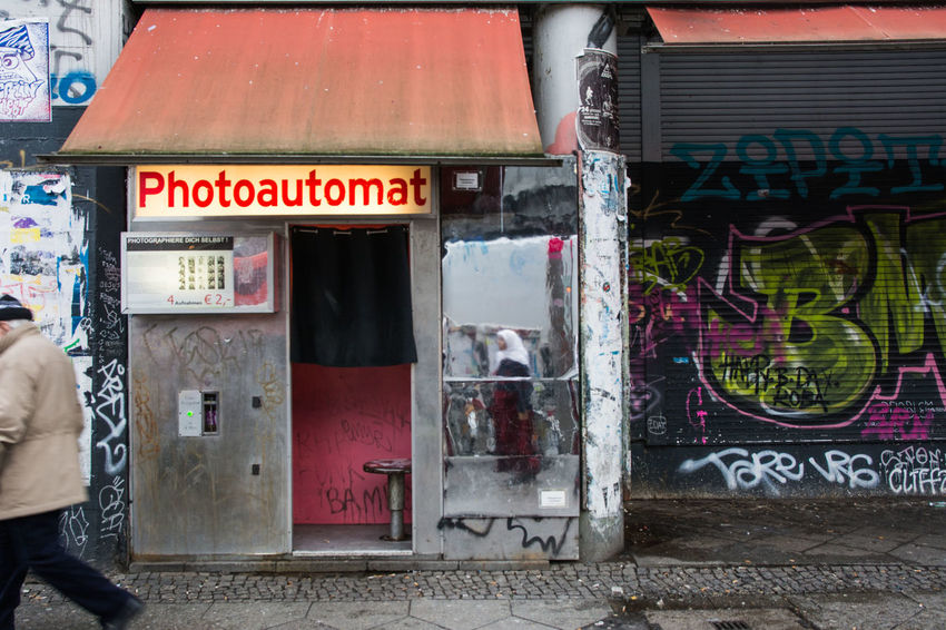 Photoautomat Architecture Building Exterior Built Structure Communication Day Graffiti One Person Outdoors People Text