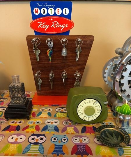 EyeEmNewHere Vignette Art Vignette Holy Water Old School Timer Hotel Keys Hotel Indoors  Multi Colored Art And Craft Still Life No People Craft Table Close-up Creativity Clock