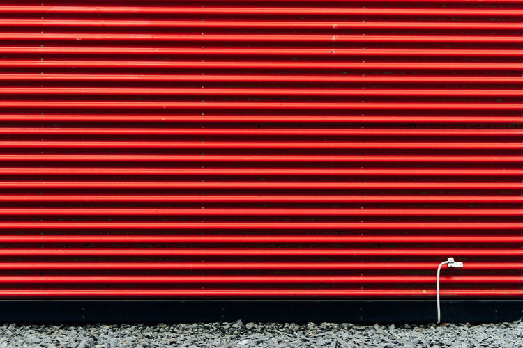 Close-up of red shutter