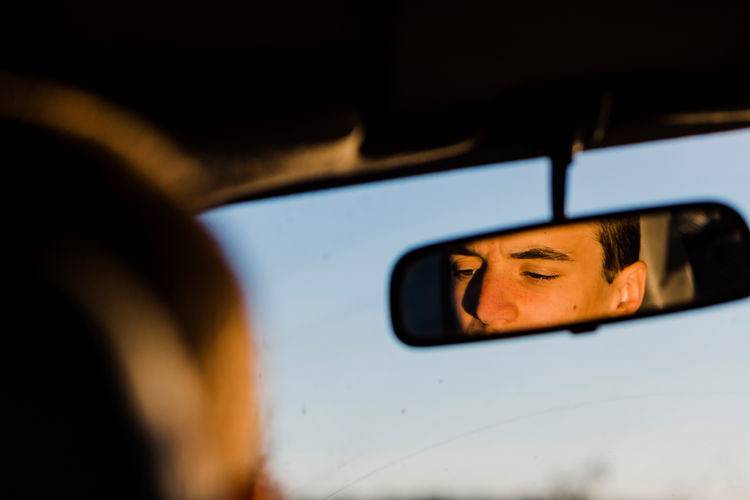 Car Car Interior Close-up Day Headshot Land Vehicle Mode Of Transport One Person People Side-view Mirror Transportation Window Young Adult