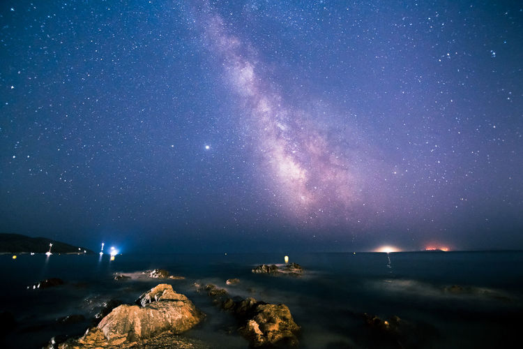 Milky way shot in july 2020 from gigaro beach in south of france, saint-tropez bay area