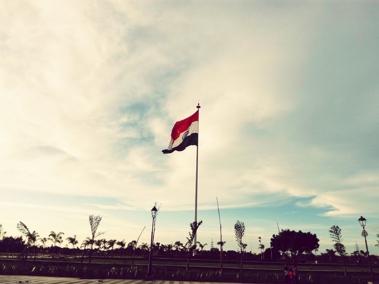 flag, patriotism, cloud - sky, sky, low angle view, tree, day, no people, outdoors, nature