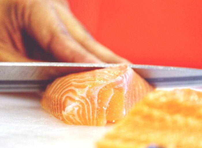 fresh salmon sashimi by chef Close-up Sashimi Sushi Japanese Food Fresh Food Chef Knife Salmon Sashimi Slide Salmon - Seafood Salmon Sashimi  First Eyeem Photo