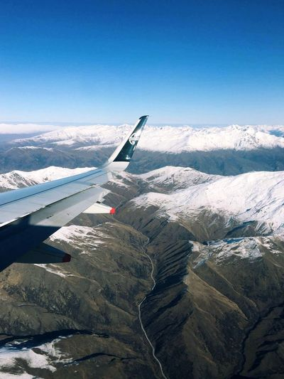 Mountains Flight Airnewzealand Winter Queenstown Travel Snow Sky Snowcapped Mountain First Eyeem Photo
