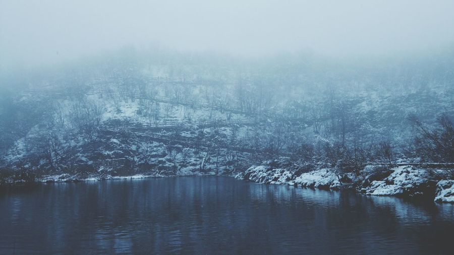 Reflection Water Cold Temperature Nature Beauty In Nature Winter Snow Tranquility Fog No People Tree Scenics Outdoors Sky Snowing Day Plitvice Lakes National Park EyeEm Best Shots EyeEmNewHere EyeEm Nature Lover EyeEm Best Edits Beauty In Nature