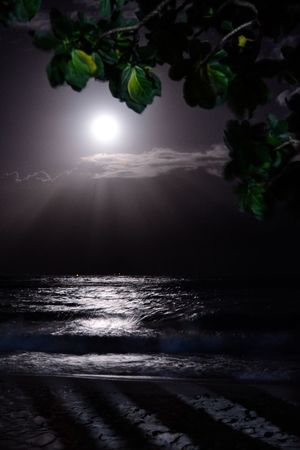 After the heavy rain, the moon peeks and said hi Moonlight Moon EyeEmNewHere Travelphotography Water Sea Sky Beauty In Nature Land Scenics - Nature Horizon Over Water Horizon Beach Nature Tranquil Scene No People Sunlight Sunbeam Sun Motion Outdoors Tranquility Cloud - Sky
