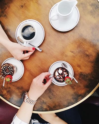 Table Human Hand High Angle View Food And Drink Real People Hand Indoors  Drink Coffee Plate Cup