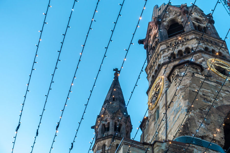 Berlin Photography Christmas Christmas Lights Church Kaiser-Wilhelm-Gedächtnis Kirche Kudamm Lines Architecture Blue Building Exterior Built Structure City Clear Sky Day Famous Place History Low Angle View No People Outdoors Place Of Worship Religion Sky