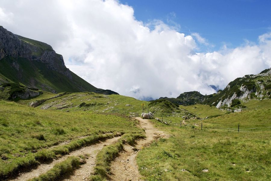Austria Beauty In Nature Cloud - Sky Countryside Curve Day Dirt Road Footpath Grass Green Color Growth Landscape Mountain Narrow Nature Non-urban Scene Outdoors Remote Scenics Sky Solitude The Way Forward Tirol  Tranquil Scene Tranquility