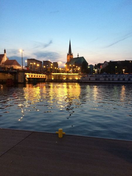 Stettin. Stettin Szczecin Wharf City Night Water