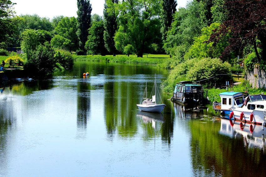 The Essence Of Summer Ireland🍀 River Boats Reflection Trees
