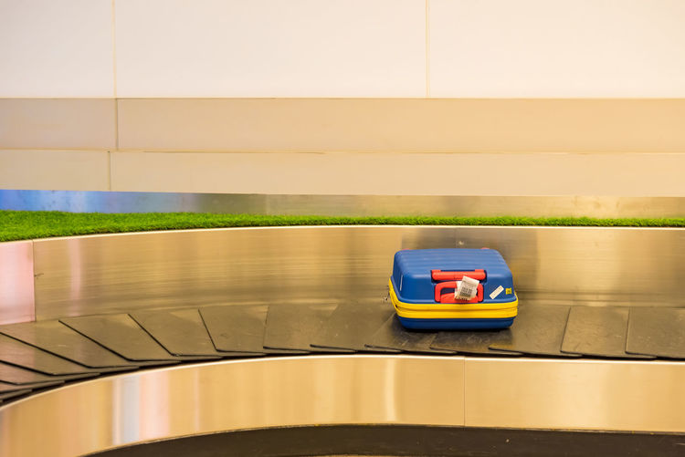 High angle view of toy car on wall