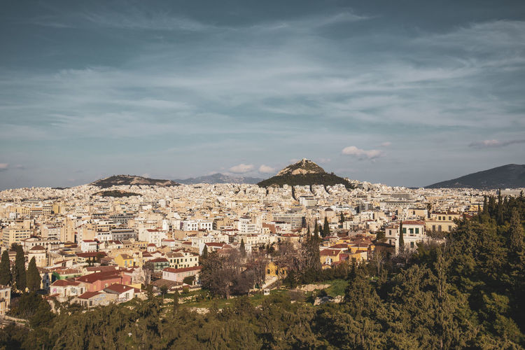 Athens Athens Greece Athens, Greece Acropolis Architecture Built Structure Building Exterior Cloud - Sky Sky Building Residential District City Nature Tree Mountain No People Plant Day High Angle View Outdoors Scenics - Nature House Cityscape TOWNSCAPE
