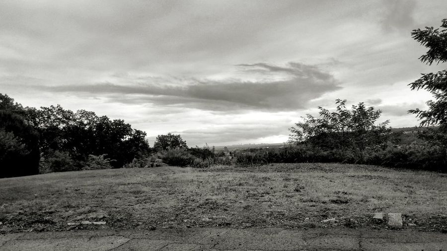 where the sidewalk ends... Sidewalk Black And White Sepia Sidewalk Cloud Cloudy Cloud Formation Dreary Dreary Day Overcast Overlook Vacant Lot Land Landscape