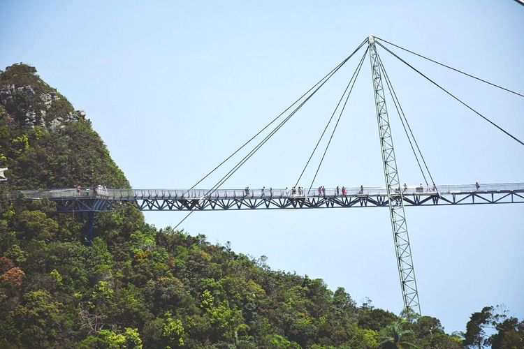 Low angle view of people on langkawi sky bridge against clear sky