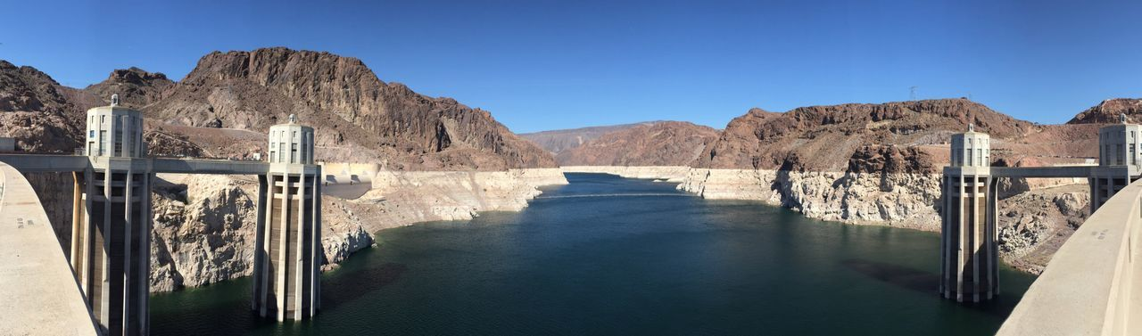 EyeEm Selects Hydroelectric Power Dam Clear Sky Water Mountain Nature Beauty In Nature Scenics Architecture River Day Outdoors Tranquility Tranquil Scene Fuel And Power Generation No People Built Structure Mountain Range Rock - Object Blue Lake Mead