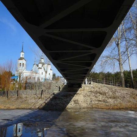 Bridge - Man Made Structure Built Structure Architecture River Water Tree Outdoors Connection Day Sky No People Park Church Lake Frozen