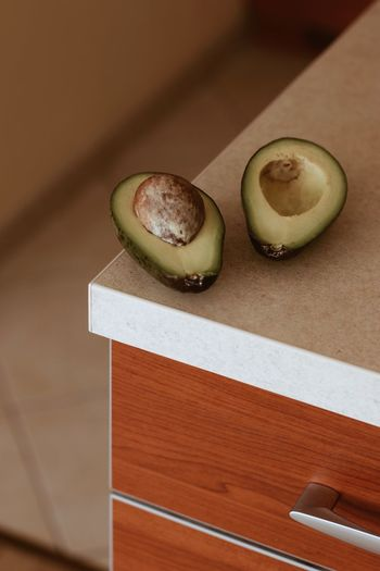 High angle view of avocado on table