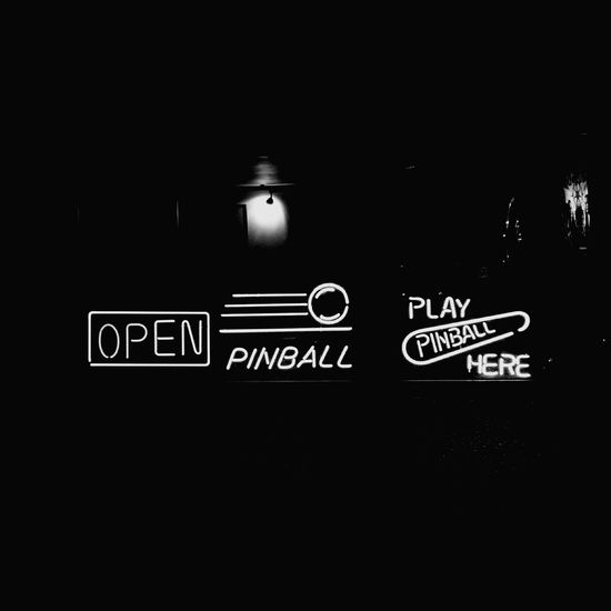 OPEN PINBALL PLAY PINBALL HERE (with filter). Coffee Pinball Window Neon Neon Lights Neon Sign Black And White BW_photography EyeEm Best Shots EyeEm Gallery EyeEm Best Edits Taking Photos Taking Pictures London Chiswick Photography Typography Sign