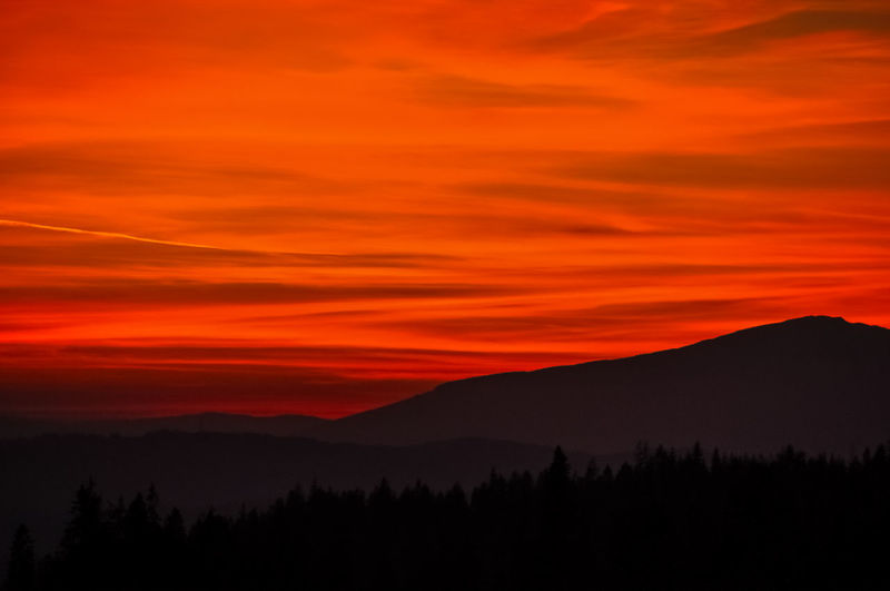 Beauty In Nature Cloud - Sky Dramatic Sky Environment Evening Forest Land Landscape Mountain Mountain Range Mountain Ridge Nature No People Non-urban Scene Orange Color Outdoors Red Sky Scenics - Nature Silhouette Sky Sunset Tranquil Scene Tranquility Tree EyeEmNewHere