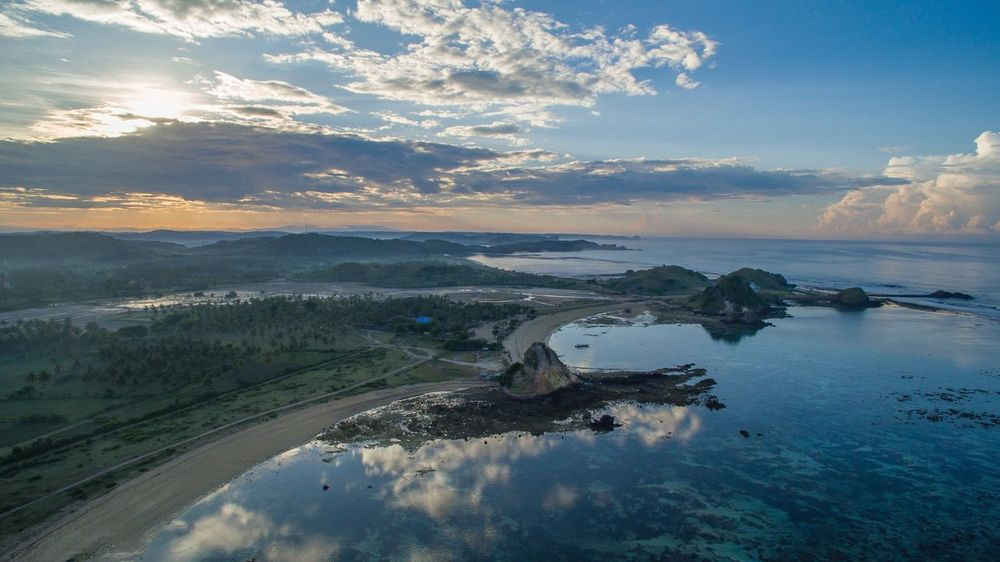 Aerial view of Lombok Beach Panoromic Aerial Panorama Lombok Indonesia Lombok Island Lombok Beach Nature_collection Sunrise Scenics Aerial Landscape Sunset_collection Aerial View Water Scenics Beauty In Nature Sky Nature Tranquility No People Landscape Outdoors Day