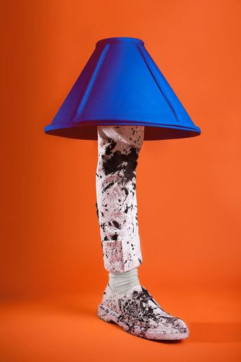 🛁 Orange Color Close-up Studio Lamp Leg Lamp Dirty Mud All White Contrast Conceptual Model: Lauren Bellenie