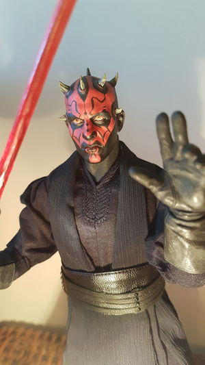 It's time to make ourselves known master Starwars Starwarsfigures 1/6th Scale Action Figure's DarthMaul Darth Maul Starwarstoys Close Up Photography PhonePhotography Clown Disguise Portrait Halloween Standing Looking At Camera Bizarre Front View Humor Costume Angry