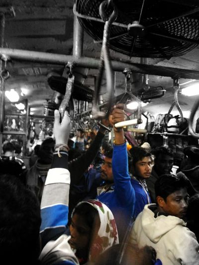 Busy local train of India Real People Large Group Of People Men People Crowd Train Kolkata India Streetphotography
