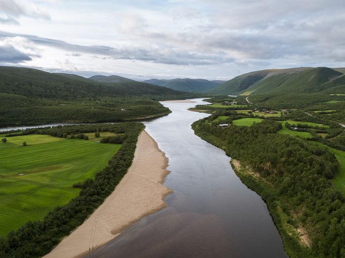 Aerial view of teno aka tana river between norway and finland at summer.