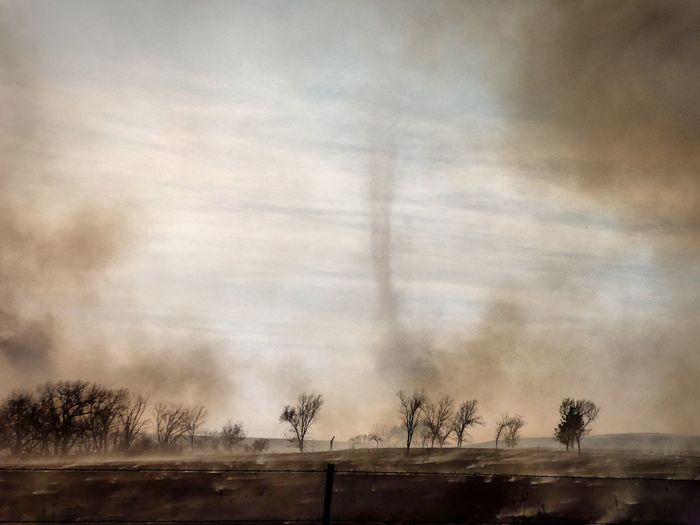 This controlled tall grass burn created a smoke tornado that stayed formed for several minutes. Fire Phenomenon Fire Devil Smoke Devil Tallgrass Pasture Fire Sky Cloud - Sky Nature Tree Plant Textured  No People Backgrounds Outdoors Scenics - Nature Environment Full Frame