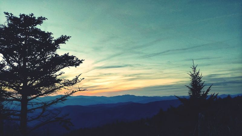 Smokey Mountain Sunset! Landscape Silhouette Beauty In Nature Scenics Outdoors Cloud - Sky Sunset Pine Tree Water Rock Knob, NC Smokey Mountains, NC Fall Beauty Falltime In The Mountains Mountain Range Colorful Sky At Sundown EyeEm Best Shots EyeEm Gallery Cell Phone Photography