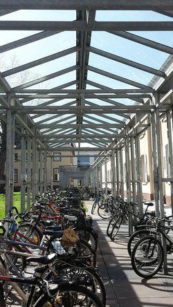 City View  City Life Bicycles Bicycle Rack Bicycle Parking Fahrräder Fahrradabstellplatz Fahrradständer Metal Construction Metall Konstruktion Sunny Day