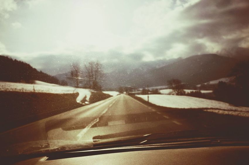 Transportation Car Snow Cold Temperature Travel Winter Weather Windshield Driving The Way Forward Road Mode Of Transport Cloud - Sky Landscape Highway Sky Nature Car On The Road Miles Away