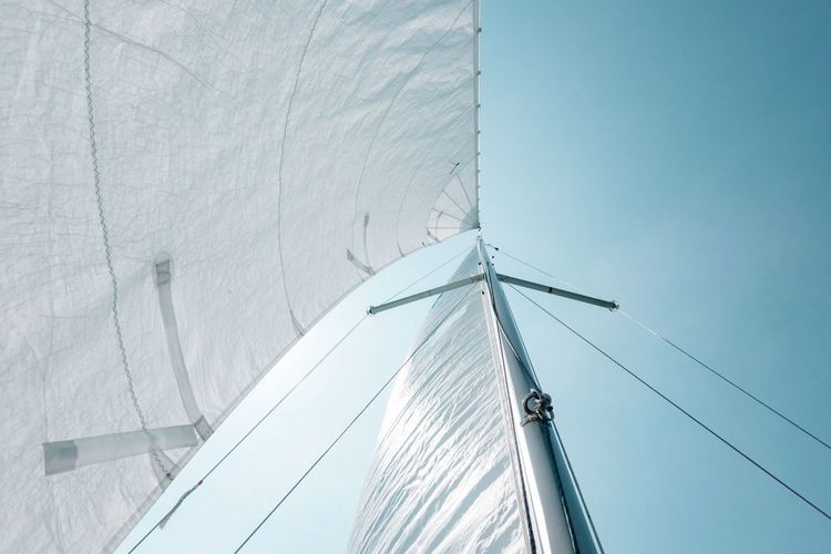 sailing... Nautical Theme Wind Sailing Boat Sail Sailing Built Structure Day Low Angle View No People Building Exterior Sky Nature Blue Sunlight Clear Sky Pattern Connection Cable