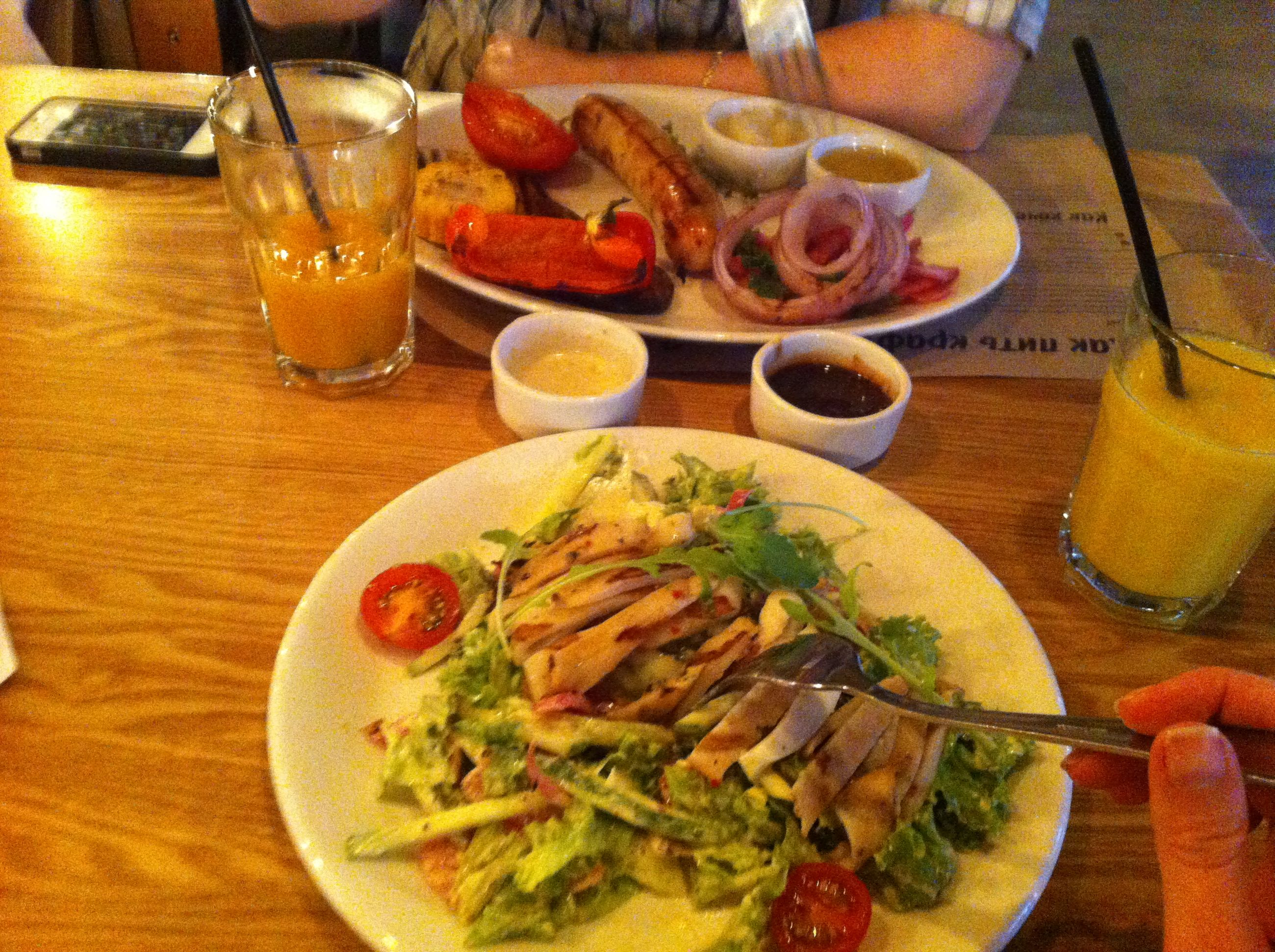 food and drink, food, freshness, indoors, table, ready-to-eat, plate, healthy eating, still life, meal, serving size, vegetable, high angle view, meat, bowl, salad, served, fork, close-up, restaurant