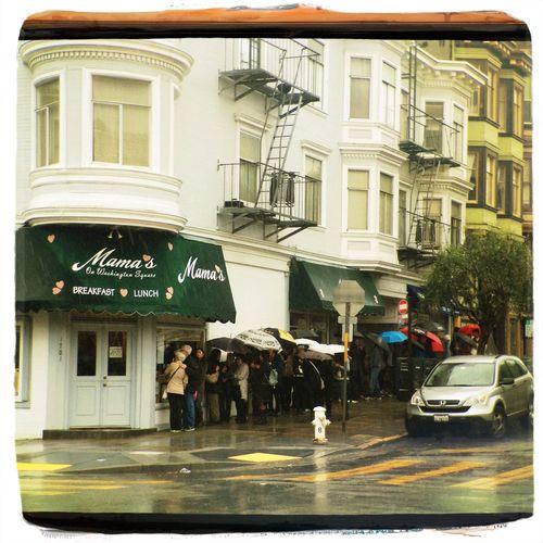Brunch line in the rain