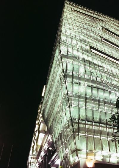 The art of building edge Shape And Pattern Edge Low Angle View Built Structure Architecture Building Exterior Night No People Building Illuminated Sky Nature Lighting Equipment Modern Office Building Exterior Tall - High Window Pattern Decoration Outdoors City
