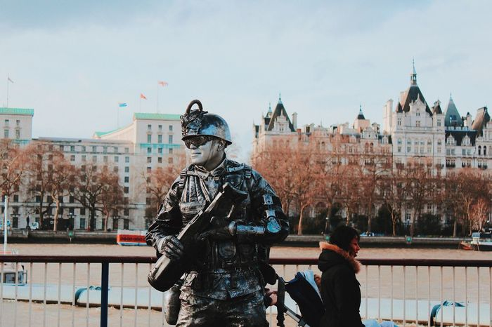 EyeEm LOST IN London People Built Structure Statue Sky Helmet Army Helmet Building Exterior Army Soldier Day Police Force Architecture Military Men Weapon City Law Military Uniform Outdoors Real People Shield Police Uniform Stories From The City
