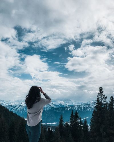 Best place to find new ideas: breathtaking nature. Winter Panorama View Panoramic Landscape Panoramic Panorama View Scenery Scenics Alpen Alps Cloud - Sky Sky Real People One Person Leisure Activity Photography Themes Creative Space Nature Women Standing Rear View Casual Clothing Outdoors Day Activity Beauty In Nature Photographing Plant EyeEmNewHere The Traveler - 2018 EyeEm Awards The Great Outdoors - 2018 EyeEm Awards