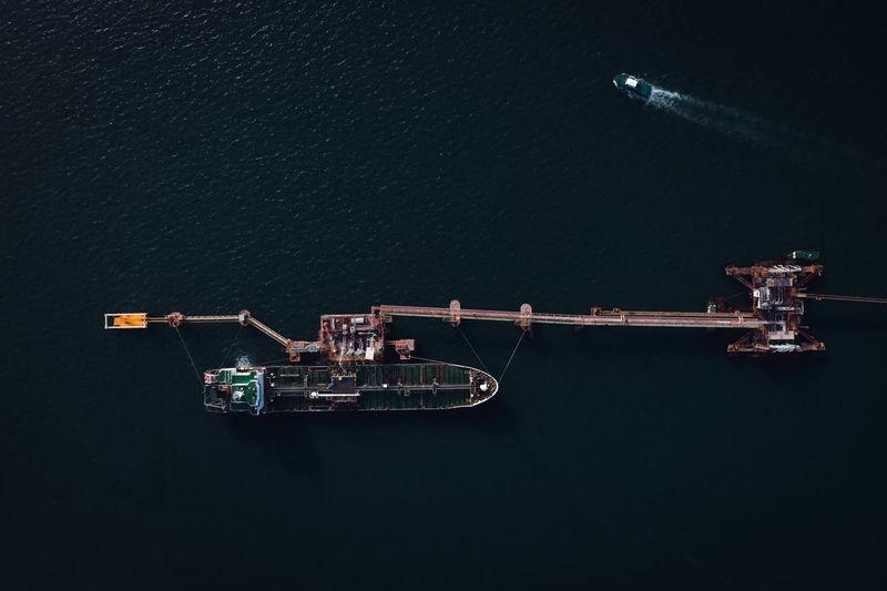Shipping oil and gas loading terminal bridge on the sea