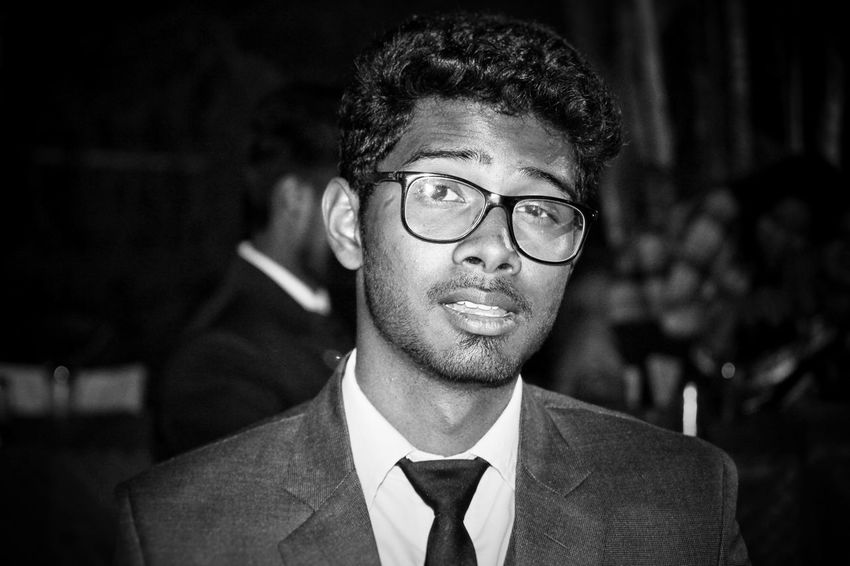 Black Man in suit Black & White Smiling Happy Evening Specticals Suit Blazer Black Background Curly Hair Black Hair Smart Complexity Smart Look Handsome EyeEmNewHere