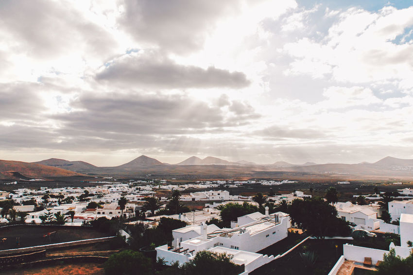 Canary Islands Lanzarote SPAIN Travel Volcanoes Clouds Day Geological Formation Island Landscape View From Above Village Volcanic  Volcano