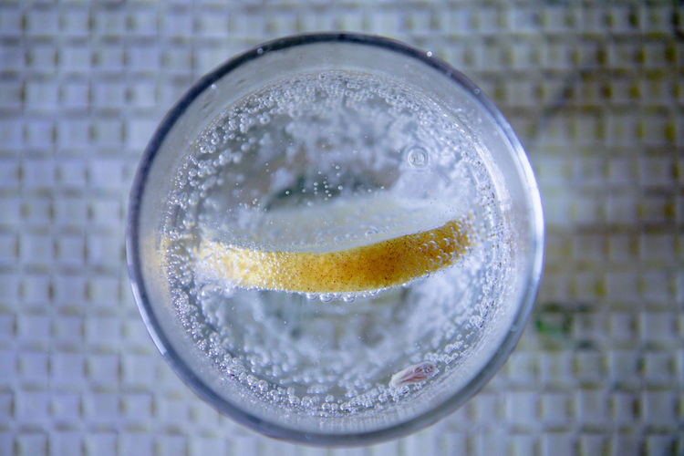 Directly above shot of water in glass