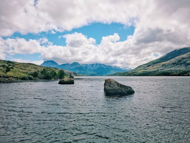 Beauty In Nature Mountain Tranquility Nature Tranquil Scene Scenics Water Sky Idyllic Waterfront No People Outdoors Day Cloud - Sky Patagonia Chile Landscape