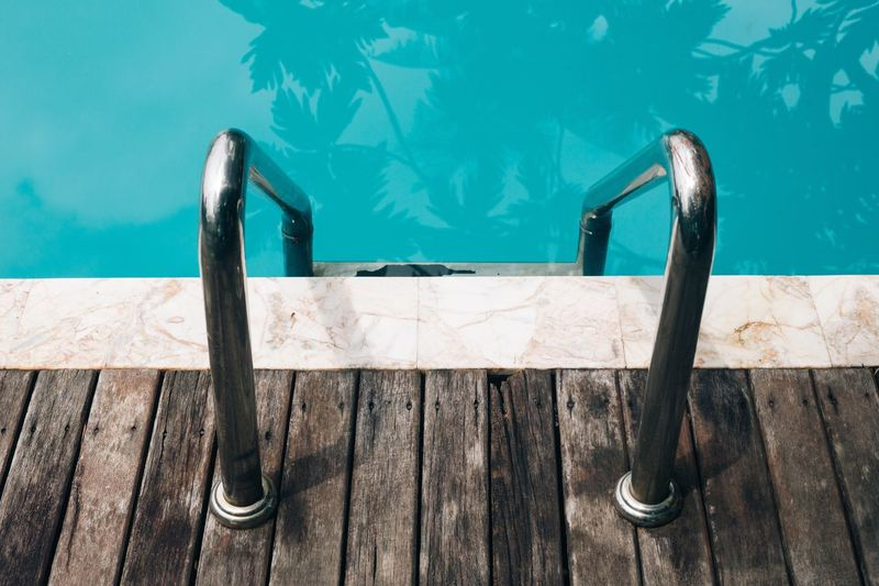 Detail shot of handles at swimming pool