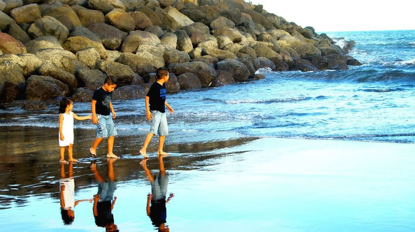 Water Reflections Kids Brothers Family❤ Love ♥ Sunset Beach Discovering Live, Love, Laugh Enjoying Life